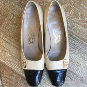 Salvatore Ferragamo tan and black pumps